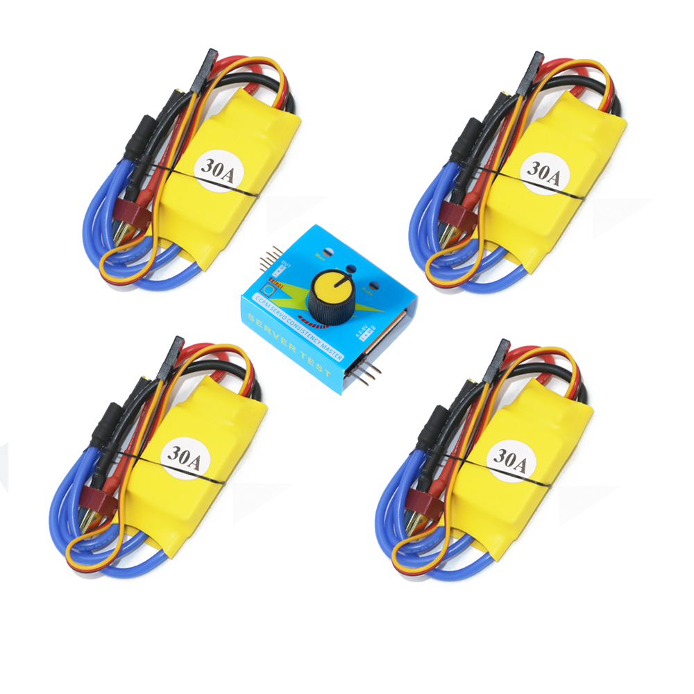 4pcs 30A XXD Brushless Speed Controller RC ESC + Multi Servo Tester 3CH ESC 4.8-6V CCPM Master Checker for F450 Multicopter favourite 4pcs 20a 2 4 lipo battery opto esc brushless speed controller for f450 550 quadcopter multicopter