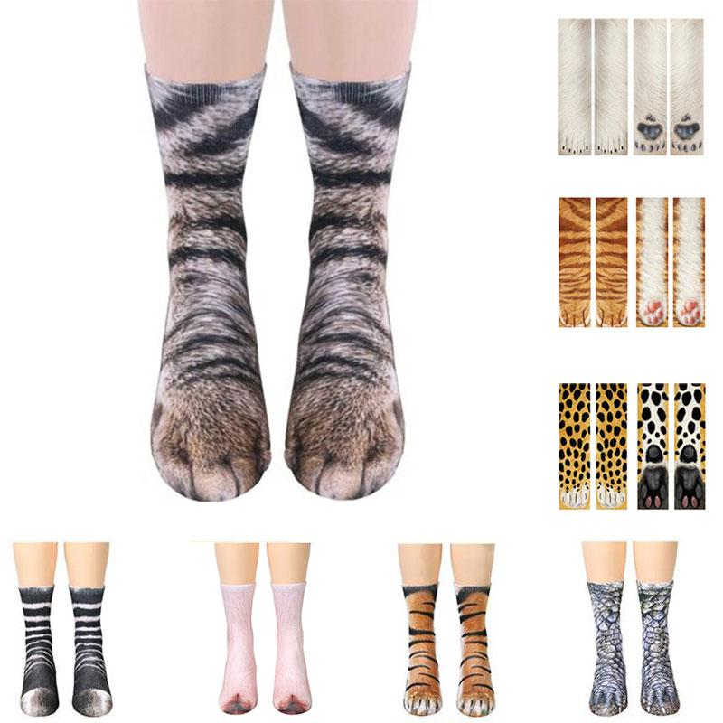 Animal Feet Socks Men Women Crazy Novelty Animal Paw Crew Funny Socks Sublimated 3D Print Socks Cosplay Sneakers Art