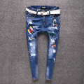 2017 new spring  loose vintage wear white embroidery ladies jeans trousers Monogram cross jeans