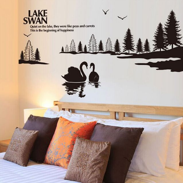 Hangat Romantis Swan Lake Diy Stiker Dinding Ruang Tamu Tv Sofa Latar Belakang Hiasan