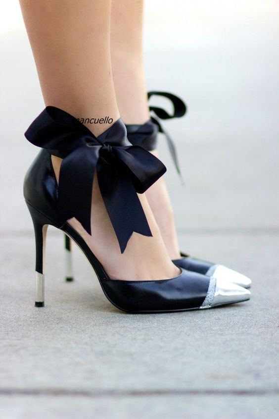Fancy Black Patchwork Bowknot Decorated Dress Shoes Silk Butterfly-knot Ankle Lace Up Heels Sexy Pointy Stiletto Heel Pumps sweet style lace up artificial fibre bowknot decorated translucent lace hem women s pajamas