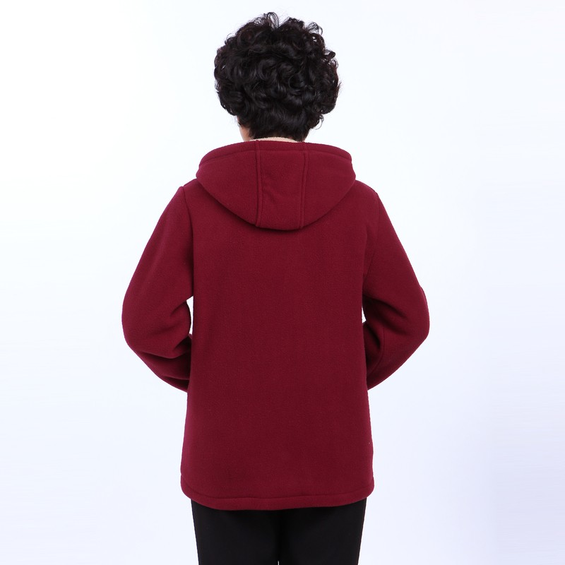 Winter Middle Aged Womens Hooded Imitation Lambs Fleece Jackets Ladies Warm Soft Velevt Coats Mother Overcoats Plus Size (16)