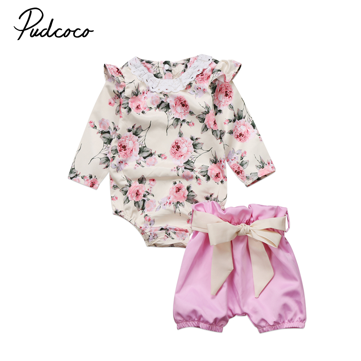Pudcoco 2Pcs Newborn Baby Girls Clothing Sets Long Sleeve Floral Ruffles Romper Shorts New Baby Cute Outfits Set Clothes 2pcs cute newborn baby girl clothes 2017 summer solid color ruffles baby romper bunny hat outfits sunsuit kids clothing 0 24m