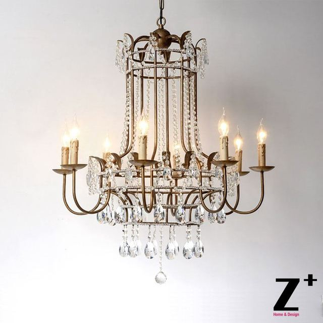 Luxury French Palais Vintage Gold Re K9 Crystal Candlestick Chandelier Free Shipping