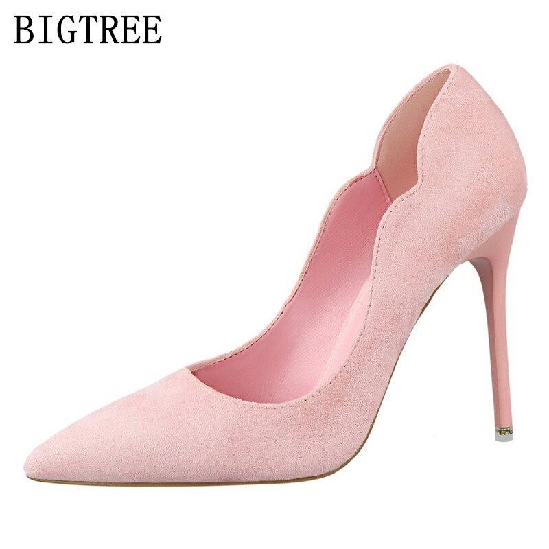 women elegant shoes extreme high heels zapatos mujer salto alto flock bigtree shoes valentine shoes designer luxury brand pumps цены онлайн