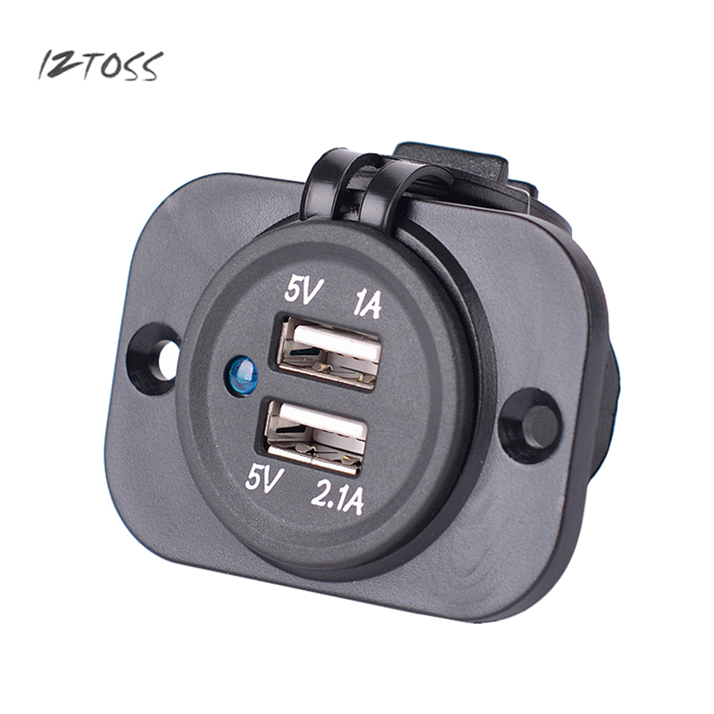 IZTOSS <font><b>Dual</b></font> <font><b>USB</b></font> <font><b>Car</b></font> Cigarette Lighter <font><b>Socket</b></font> Waterproof And Dustproof <font><b>3.1A</b></font> High Power <font><b>12V</b></font> 24V <font><b>Charger</b></font> Power <font><b>Adapter</b></font> Outlet Parts image