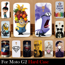 Para Motorola Moto G2 G + 1 XT1063 XT1068 XT1069 plástico rígido caso tampa do telefone móvel DIY cor Paitn de bolsa de celular Shell