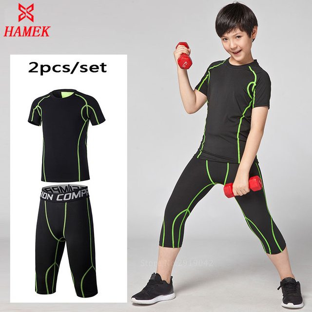 6bc53221f7a63a New kids boys Sports Running Sets Compression Tights Pants Leggings Cycling  Basketball Gym Fitness Shirts Shorts Quick Dry