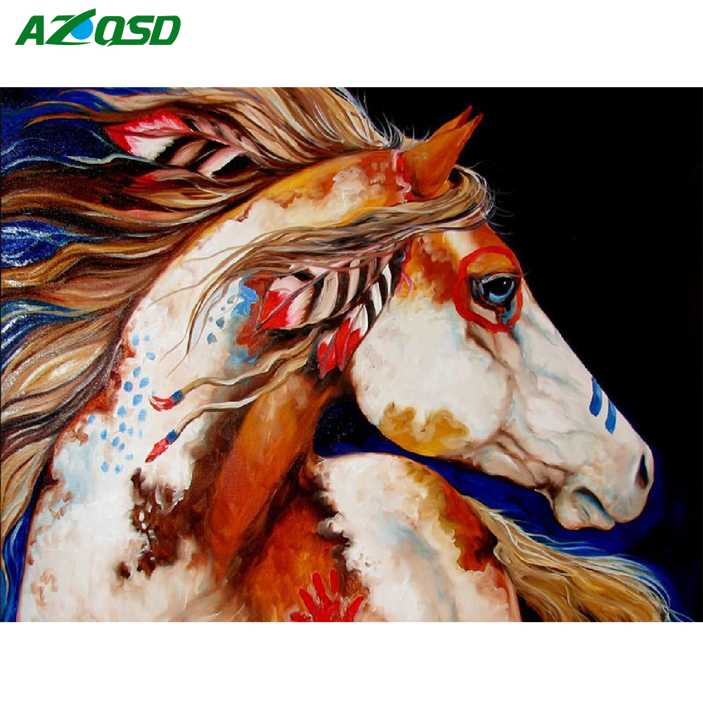AZQSD DIY Diamond Painting Horse Rhinestones Mosaic 5D Kits Embroidery Needlework Handmade Crafts Home Decoration Full Square