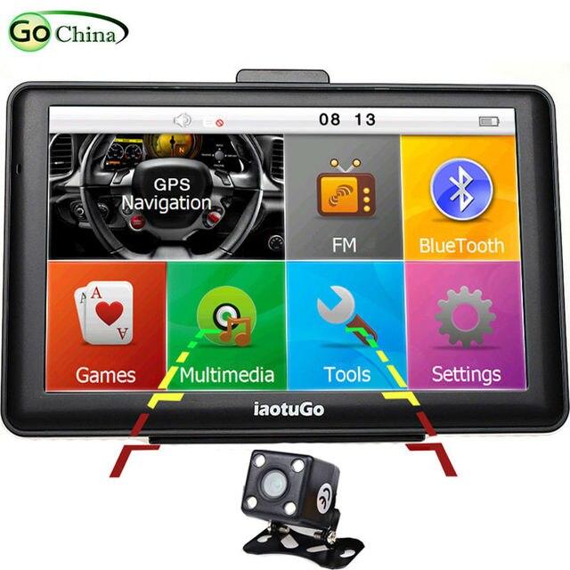 iaotuGo 7 inch 256M,8G Capacitive Car GPS Navigator+LED Night Vision Rear Camera,Bluetooth Truck GPS AVIN FM Game MP3 Video