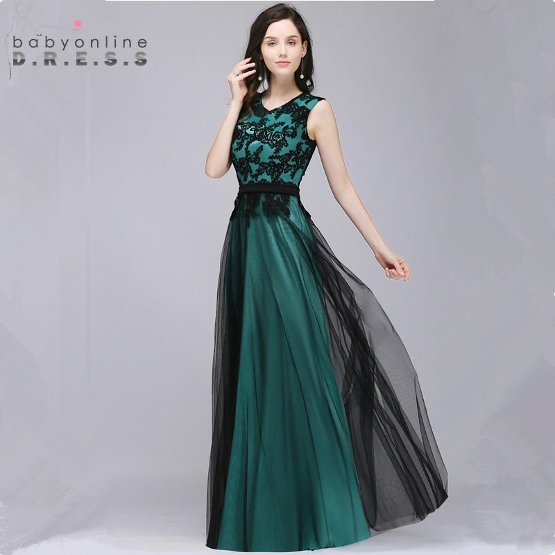 34 Colors Custom Make Black Lace Long Evening Dress 2018 Cheap A ...
