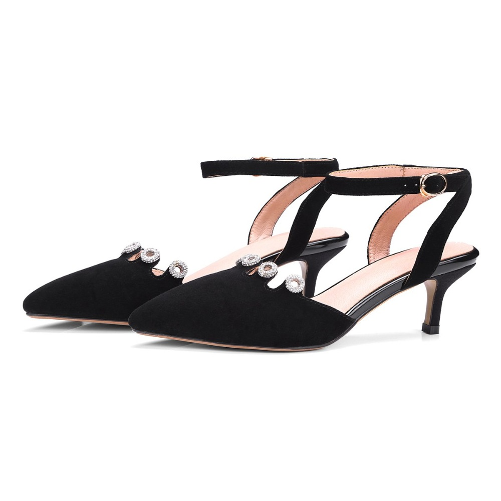 2017 fashion brand shoes high heels ankle strap party sheep skin stiletto women pumps wedding pointed toe crystal summer shoe 33 wholesale lttl new spring summer high heels shoes stiletto heel flock pointed toe sandals fashion ankle straps women party shoes