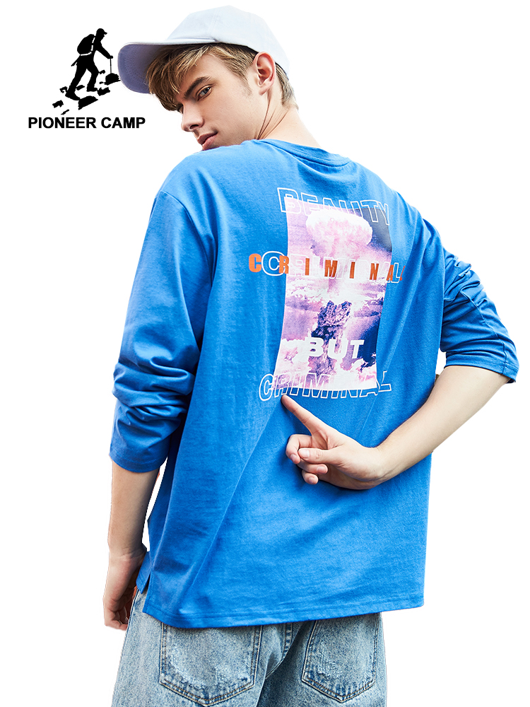 Pioneer camp 2019 new spring long sleeve t shirt men brand clothing fashion print t shirt 100% cotton soft tshirt male ACT901151-in T-Shirts from Men's Clothing    1