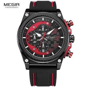 Image 2 - Megir montre bracelet, chronographe pour hommes, lumineuse, étanche, avec bracelet en caoutchouc, pour garçons et garçons 2051G 1N8