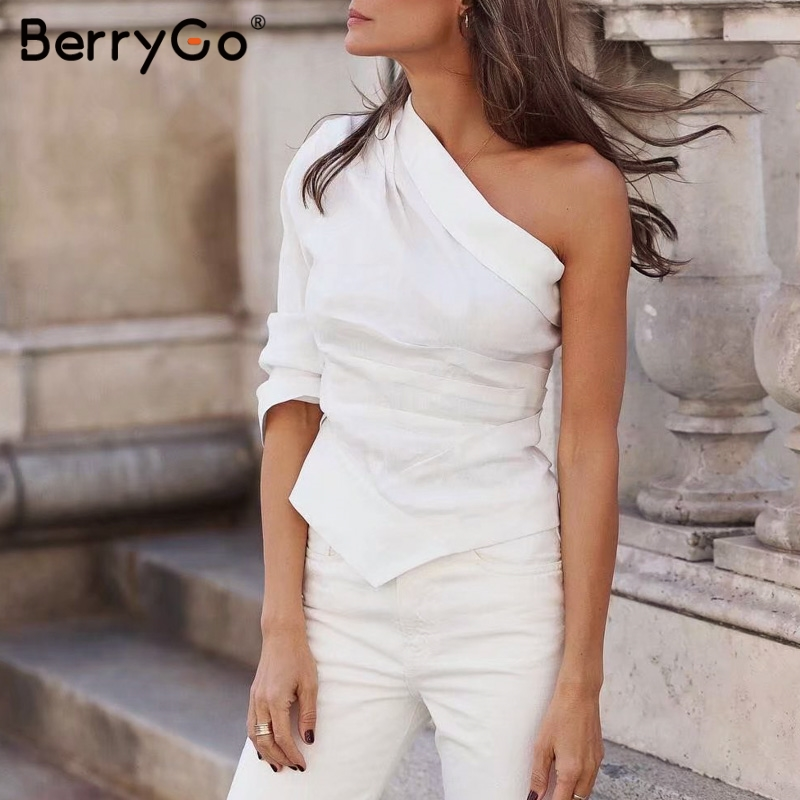 BerryGo women   blouse   one shoulder crop white   blouses     shirt   Summer style solid fashion ladies tops Streetwear sexy   blouses   tops