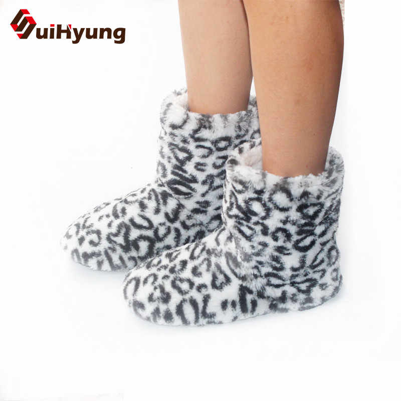 Suihyung Winter Frauen Flock Hause Botas Mode Leopard Warme Indoor Schuhe Flache Baumwolle Gepolsterte Schuhe Weibliche Schlafzimmer Plüsch Stiefel