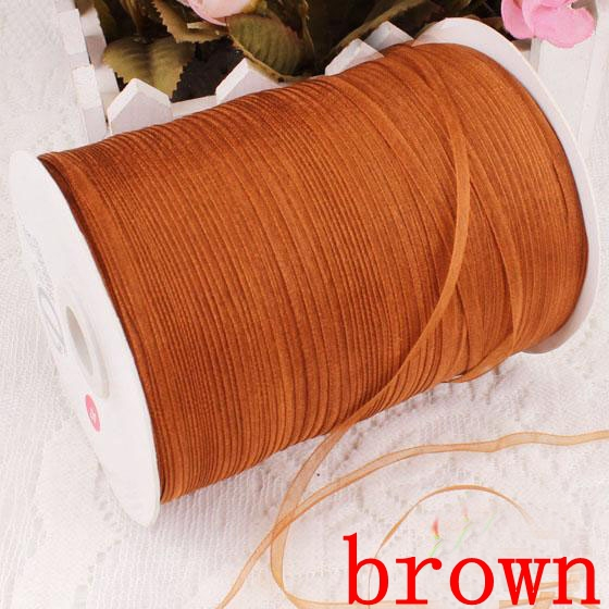 1000yards Free shipping 3mm width Wholesale Lace transparent yarn Sheer organza ribbon webbing,brown color 008006007