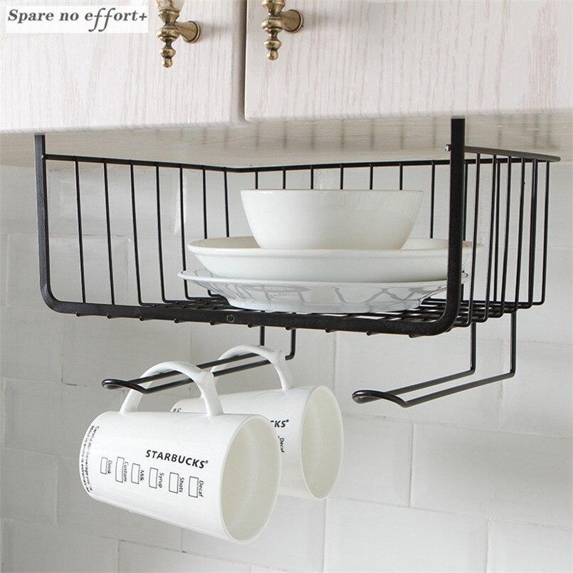 Kitchen Accessories Iron Cabinet Racks Table Hanging Basket Wardrobe Storage Rack Cupboard Management Holder Sponge Holder