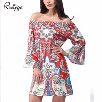 2017 Spring Summer Womens Dress Brand Sexy Elegant Evening Party African Ethnic Print Tunic Casual Beach