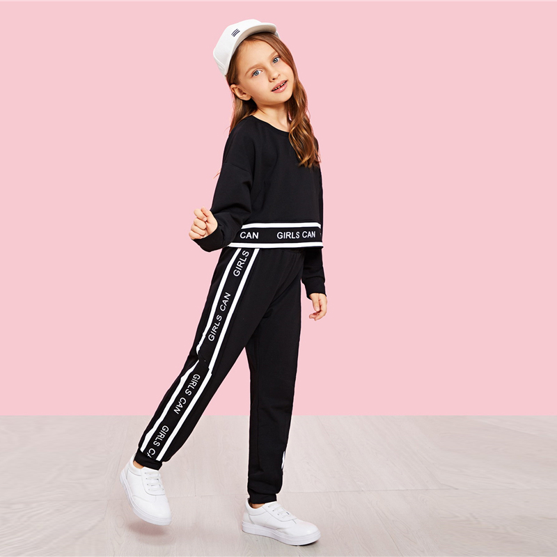 SHEIN Girls Lettering Trim Casual Pullover And Pants Set Kids Clothing 19 Spring Active Wear Long Sleeve Girls Clothes 7