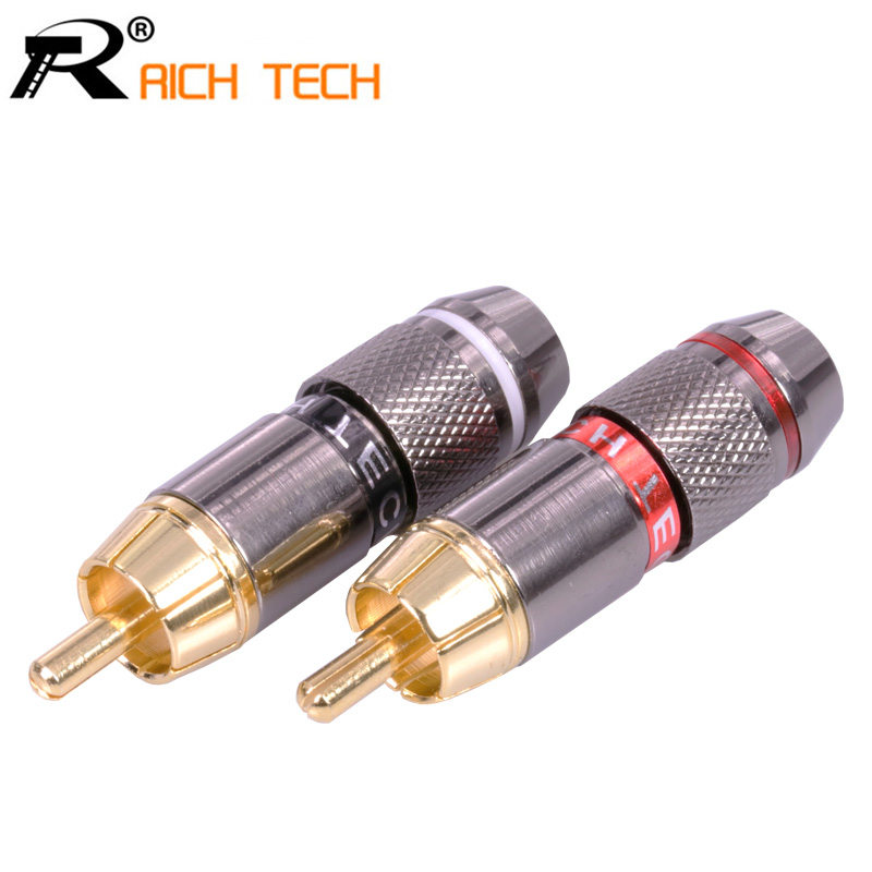 1 Pair High Quality Gold Plated RCA Connector RCA male plug adapter Video/Audio Connector Support 6mm Cable black&red super fast dsha new hot 10pcs gold tone male rca plug audio connector metal spring adapter