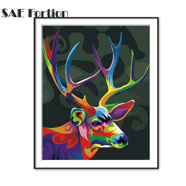 Phenomenal Abstract Cartoon Animal Art Oil Painting Black Base Colorful Antlers Canvas Modern Home Decor For Livingroom Bedroom Vqv1654 In Painting Calligraphy Home Remodeling Inspirations Basidirectenergyitoicom