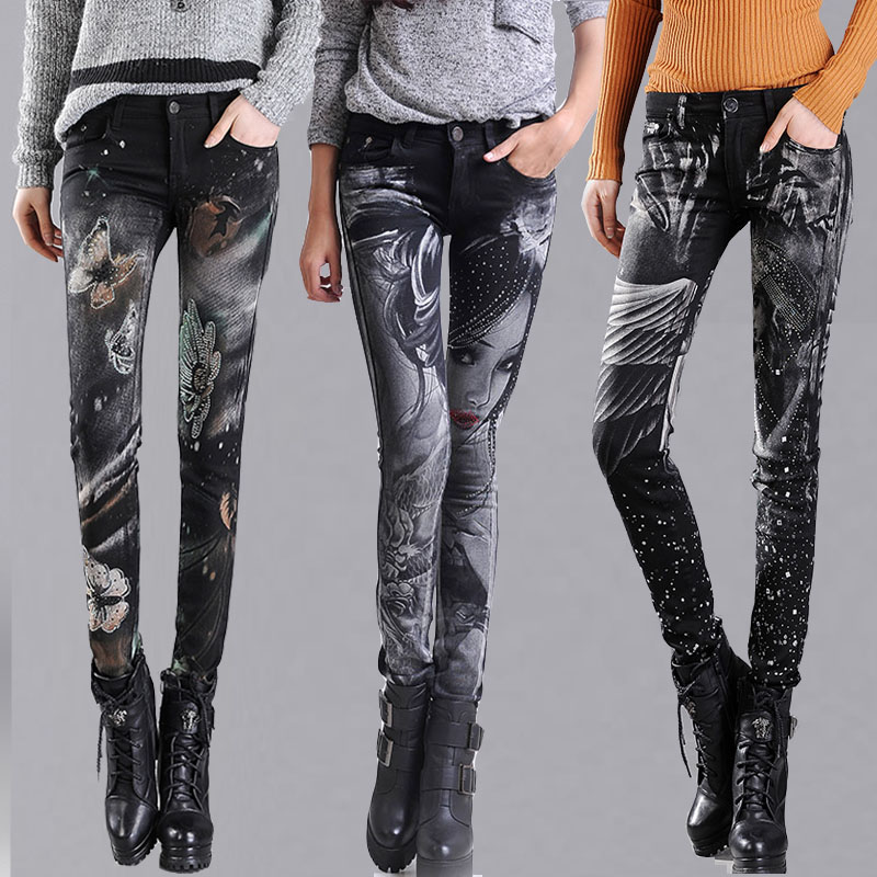 New Fashion Jeans Women Printing Pencil Pants Jeans Slim Elastic Skinny Pants Trousers L ...