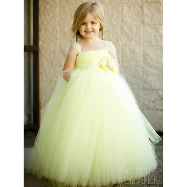 Flower Girl Princess Party Tutu Wedding Dresses Ankle Length Ball Gown Baby Girls Fluffy Dress