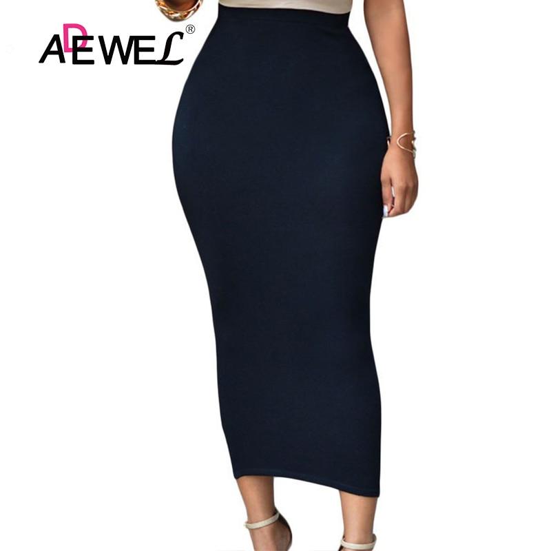 ADEWEL 2018 Sexy Women Bodycon Long Skirt Black High Waist Tight Maxi Skirts Club Party Wear Elegant Pencil Skirt Casual Skirts