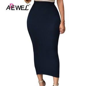 9db44e920f0 ADEWEL 2018 Women Long Skirt Black High Waist Pencil Skirt