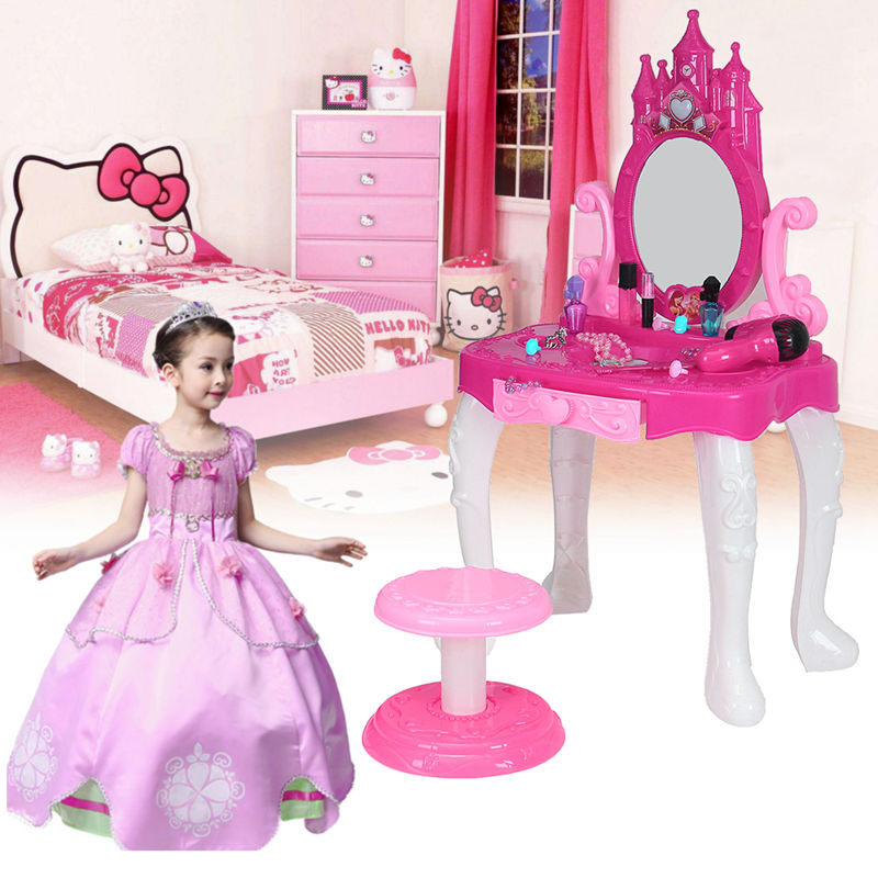 Lovely Pink Kids Vanity Table Pretend Play Set Music Cosmetic Makeup Hair Toddler Cute Girl Toys Gift beiens furniture doll 19 pcs children kids baby girl s cute lovely toy fashion makeup chair make up table set dresser