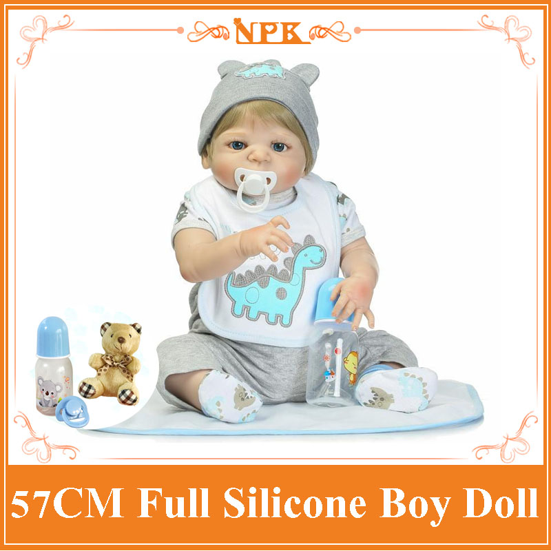 Super Cool 57cm About 22 Whole Silicone Bebes Reborn Bonecas Play Toys For Babies Bathing Bebe