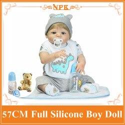 Super Cool 57 cm Sobre 22 ''Whole Silicone Bebes Reborn Bonecas Jogar Brinquedos Para Bebês de Banho Bebe Vivo Boneca como Enducational Boneca