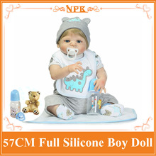 "Super Cool 57cm About 22"" Whole Silicone Bebes Reborn Bonecas Play Toys For Babies Bathing Bebe Alive Doll As Enducational Doll"
