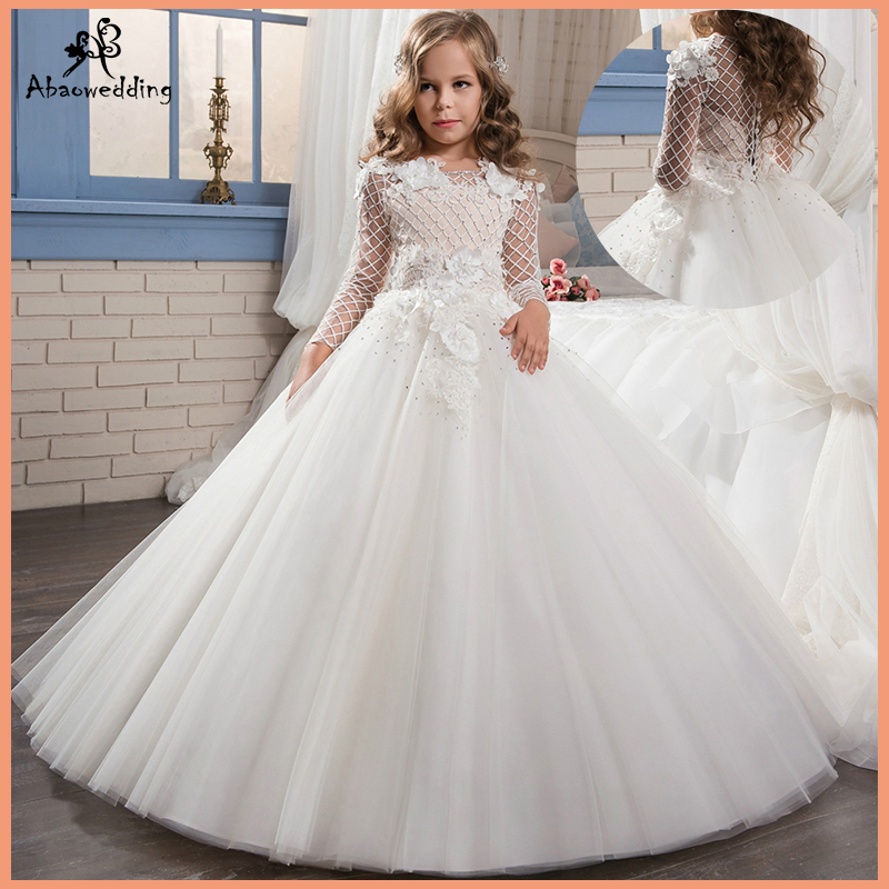 Fancy Tulle Ball Gown Christmas Flower Appliques Little Bridesmaid Wedding Dress Custom Made Vetsidos de Noiva