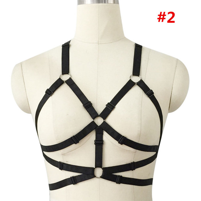 Women's black bra bandage harness Summer sexy bondage lingerie gothic harajuku Crop Top Dress Belt Body cage harness rave bra