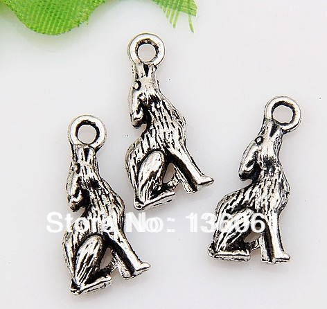 Vintage Silvers Charms 3D Filigree Coyote Wolf Pendants For Bracelet Necklace Fashion Jewelry Making DIY Accessories 10pcs Z750