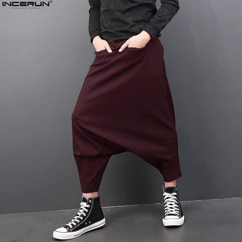 INCERUN Japan Harajuku Loose Solid Casual Harem Pants Men Baggy Wide Leg Hanging Crotch Pants Low Crotch Trousers Plus Size 5XL