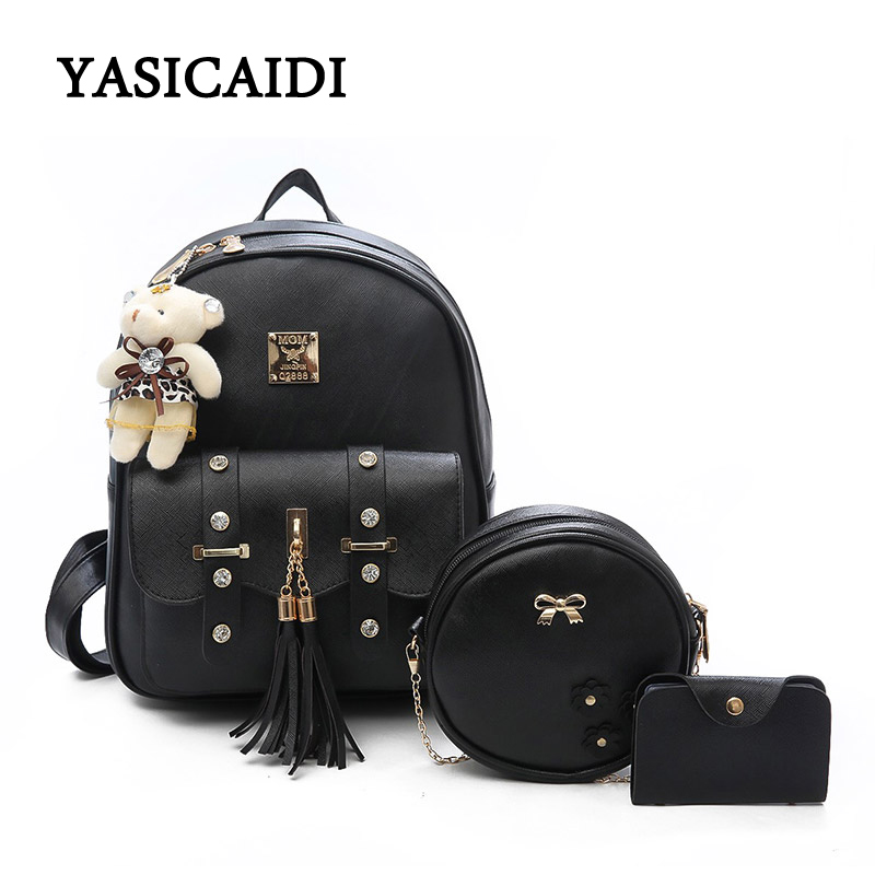 Fashion Composite Bag Pu Leather Backpack Women Cute 3 Sets Bag School Backpacks For Teenage Girls Black Bags Letter Sac A Dos brand vintage women backpack genuine leather school backpacks for teenage girls casual large capacity shoulder bags sac a dos