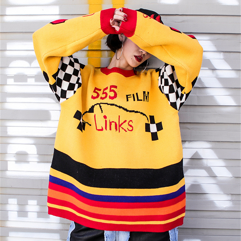 UNIQUEWHO Girls Women Chic Rainbow Stripes Knitted Sweaters Loose Round Neck Plaid Pullovers Streetwear for Spring Autumn Winter