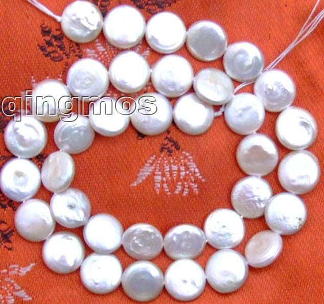 SALE Big 13-14mm Round White natural COIN PEARL strands 14-los73 Wholesale/retail Free ship