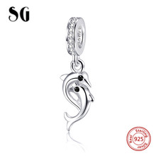 SG 925 Sterling Silver beads Dolphin Pendant Charm with CZ Fit original pandora bracelet DIY jewelry making For girl Gifts