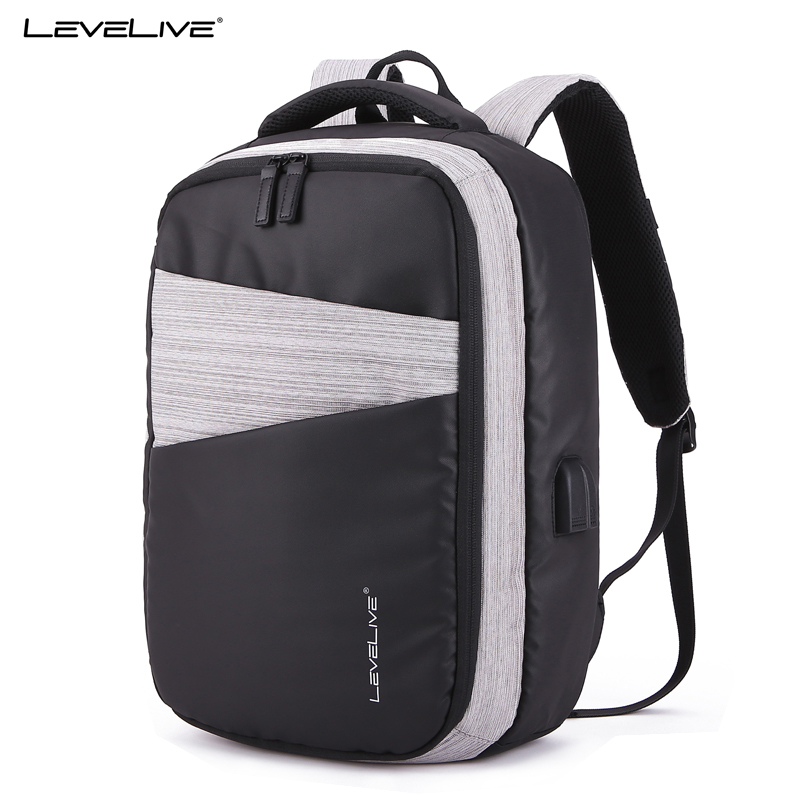 LeveLive Brand High Capacity USB Recharge 15.6inches Laptop Backpack Men Women Waterproof Travel Bag Bagpack Male Female Mochila ...