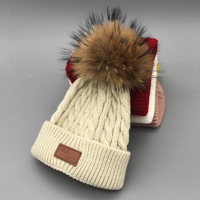 Bonnet Enfant Skullies Beanies For Kids Winter Hats Children Kids Boys Girls Fur Pompom Skullies Beanies For Kids Pompom Hat