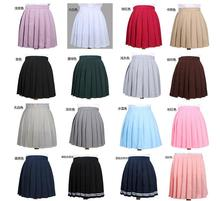 2017 High Waist Pleated Skirt  Anime Cosplay School Uniform Student Girl Pleated Skirt for Girl drawstring waist pleated skirt