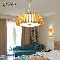 TRAZOS современные деревянные Освещение для обеденной подвесной светильник Искусство подвесные светильники Японии Стиль Lampara E27 лампы татами