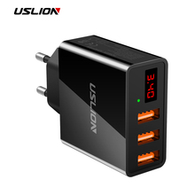 USLION 3.4A LED Display 3 USB Charger For iPhone Samsung Xiaomi Huawei Max 2.4A Universal Mobile Phone USB Charger Fast Charging