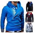 2017 Fashion Casual Men's Designer pure Color Hooded Sweatshirt Men Placket letters printed Hoodies Long Sleeve Male Clothing