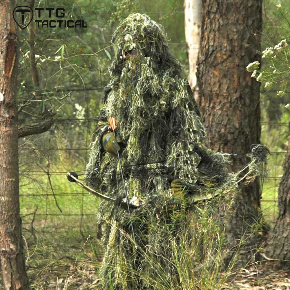 все цены на Camouflage Hunting Ghillie Suit Yowie Sniper Ghilly Suit for Airsoft Paintball Breathable Mesh Lining Woodland/Desert