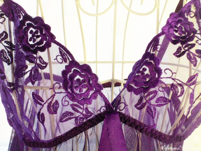 Lace Mesh Women's Half Slips With Thongs Sheer Sexy Purple Lingerie Slip Dress Hot New 2016 Summer Sleepwear For Women Plus Size